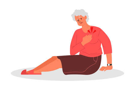 Retired women fell down. Old woman with her arm on her heart. Illustration