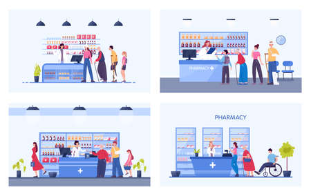 Modern pharmacy interior with visitors. Client order and buy medicaments Vektorové ilustrace