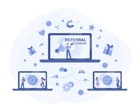 Referral program concept. Referral marketing and business partnership
