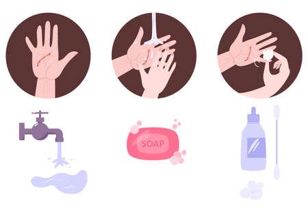 Traitement de premiers secours pour plaie sur la peau. Situation d'urgence, saignement