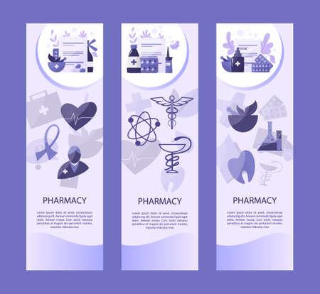 Online pharmacy web header set. Medicine pill for disease treatment