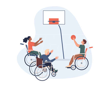 Joyful disabled people in wheelchair playing basketball.