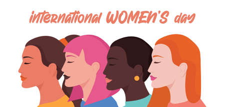 8 March Womens Day card or poster, web banner or header. Illustration