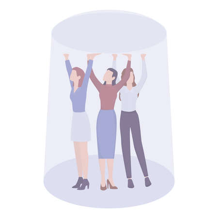 Business sexism concept. Glass ceiling and workplace discrimination