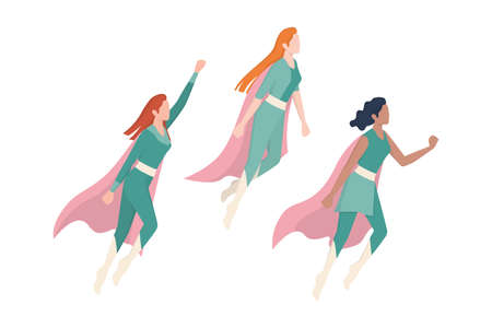 Female superhero characters. Three young powerful and beautiful
