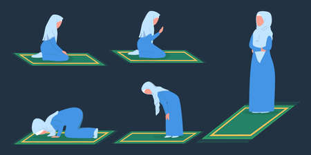 Muslim woman praying position. Woman in traditinal clothes doing