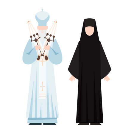 Religion people wearing specific uniform. Male and female