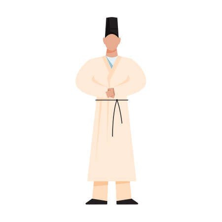 Shinto Priest. Japanese religion. Traditional religious male figure. Flat vector illustration