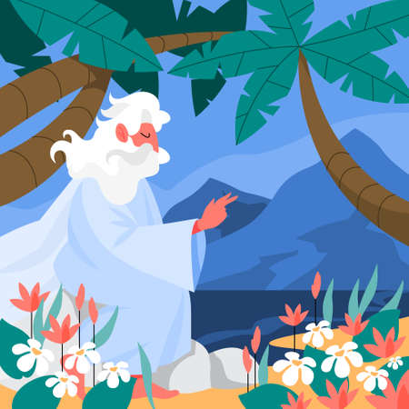 Bible narratives about Six days of Creation. Christian bible character.