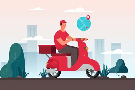 Courier with box on moped. Person in uniform on scooter. Delivery service concept. Order in the internet. Add to cart, pay by card and wait for courier on moped. Isolated flat vector illustration