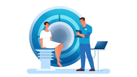 Magnetic resonance imaging in hospital. Medical research and diagnosis. Modern tomographic scanner. Patient in MRI. Isolated vector illustration in cartoon style