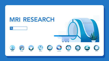 Magnetic resonance imaging website header. Medical research and diagnosis. Modern tomographic scanner. MRI clinic web banner or website interface idea. Isolated vector illustration in cartoon style