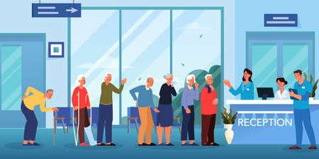 File d'attente chez le médecin. Salle d'attente à l'hôpital. Les personnes âgées attendent en file d'attente pour une consultation médicale. Intérieur de la clinique. Illustration vectorielle plane