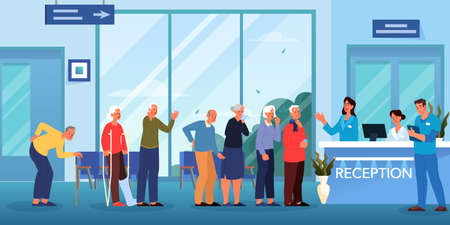 Queue to the doctor. Waiting room in hospital. Seniors waiting in queue for medical consultation. Clinic interior. Flat vector illustration