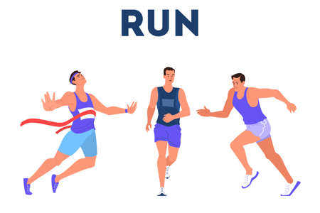 Vector illustration athlete sprinting. Running competition. Young professional Illustration