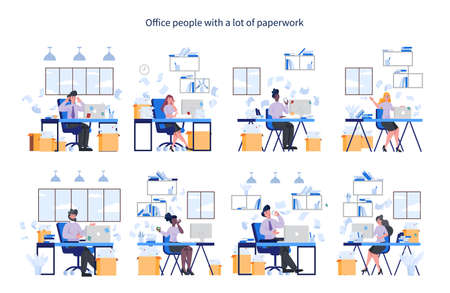 Office people with a lot of paperwork set. Deadline and busy lifestyle concept. Idea of many work and few time. Employee stressing in office. Business problems. Flat vector illustration