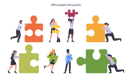 Teamwork concept. Business man and woman holding piece of the puzzle. Worker collaboration, communication and solution. Flat vector illustration