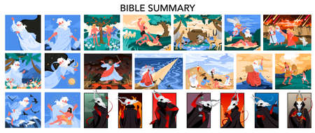 Bible narratives and seven deadly sins set. Adam and Eve, Noeh