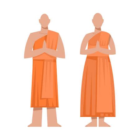 Traditional buddhist religious monk in orange theravada.