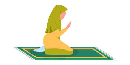 Muslim woman praying position. Woman in traditinal clothes Illustration