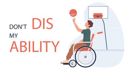 Joyful disabled man in wheelchair playing basketball. Adaptive sports