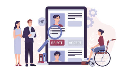 Recruitment ableism concept. HR specialist reject an young disabled
