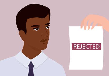 Recruitment racism concept. HR specialist reject young black man Illustration