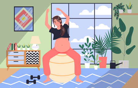 Daily life during pregnancy. Young woman doing sport with exercise ball. Healthy lifestyle and relaxation. Baby awaiting. Pregnant woman with a big belly. Isolated vector illustration Ilustracja