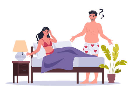 Couple of man and woman lying in bed. Concept of sexual or intimate Vettoriali