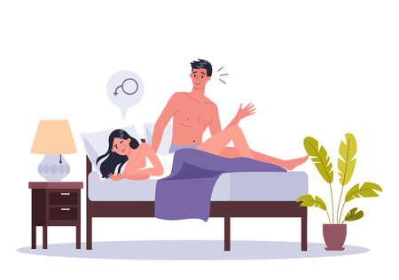 Couple of man and woman lying in bed. Concept of sexual or intimate Çizim