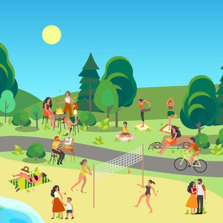 Stadtparklandschaft. Menschen, die es genießen, draußen zu sein, Sport zu treiben