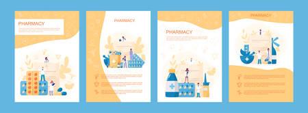 Online pharmacy web banner set. Medicine pill for disease treatment
