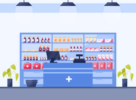 Modern pharmacy interior with shelves with medicaments and drugs.