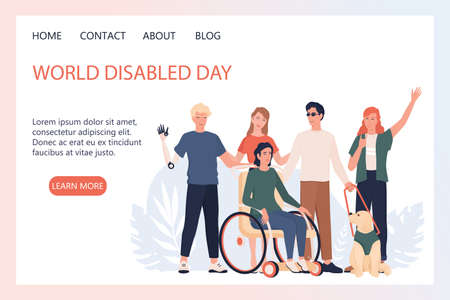 World disabled day landing page or web banner concept. Illusztráció
