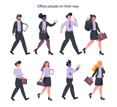 Set of young businesspeople on their way. Female and male