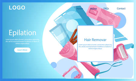 Hair removal and epilation landing page or web banner.