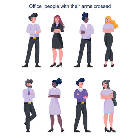 Business people with their arm crossed. Female and male characters