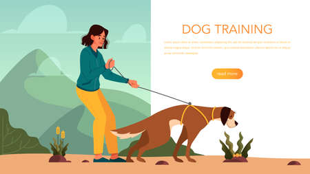 Dog training web banner concept. Happy puppy having a command