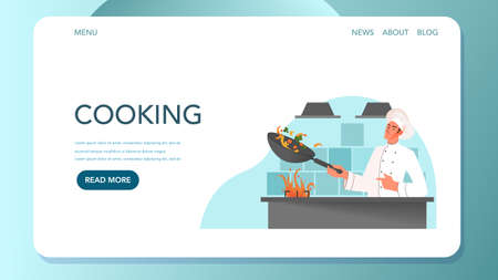 Food delivery web banner. Online delivery concept. Male restaurant chef in white uniform cooking meal on the kitchen. Chef at the stove. Vector illustration in cartoon style