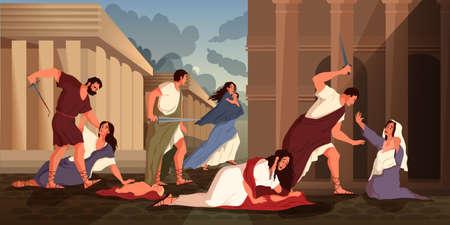 Bible narratives about the Massacre of the Innocents. Herod Ilustración de vector