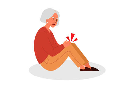Retired women fell down. Old woman with her arm on her knee.