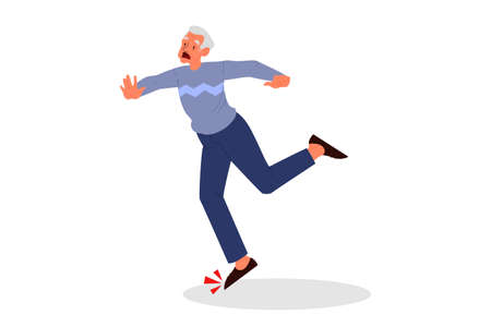 Retired men fell down. Elderly person falling on the floor. Pain and injury. Vector illustration in cartoon style