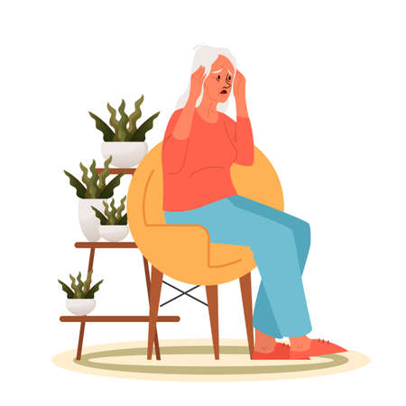 Tired old woman with a headache. Eldery person with painfull head. Grandmother sitting in armchair suffering from headache and holding her temples. Vector illustration in cartoon style