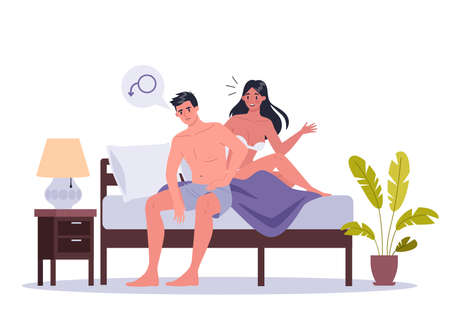 Couple of man and woman lying in bed. Concept of or intimate