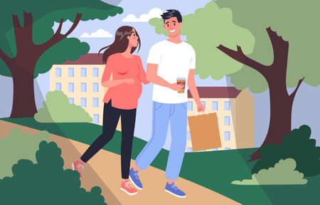 Daily life during pregnancy. Young woman preparing to be mom. Young woman walking in the park with husband. Baby awaiting. Pregnant woman with a big belly. Isolated vector illustration Illustration