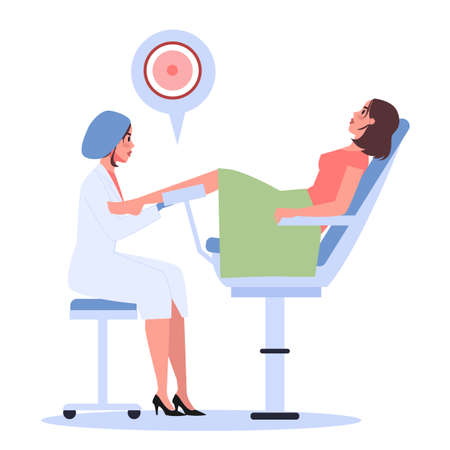 Young woman have in vitro fertilization treatment in fertility clinic. Gynecologist doctor take a woman egg. Female and male reproductive health concept. Vector illustration in cartoon style