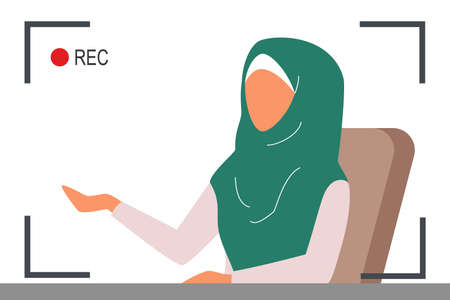 Muslim TV news. Beautiful female reporter speaking and being recorded. Breaking news, live report. Isolated vector illustration in cartoon style Vetores