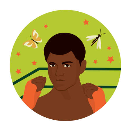 Black history month concept. Famous Afro American professional boxer, activist, and philanthropist Muhammad Ali. Vector flat Illustration