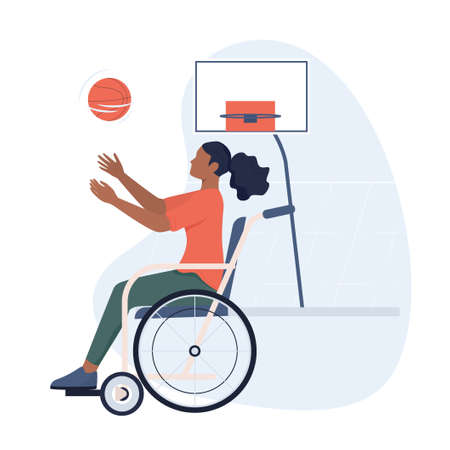 Joyful disabled woman in wheelchair playing basketball. Adaptive sports for disabled people. Ableism concept. Disability banner or poster. Isolated vector illustration in cartoon style