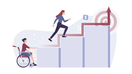Recruitment ableism concept. Young disabled businesswoman can't climb a career ladder. Discrimination and social prejudice against people with disabilities. Isolated vector illustration Ilustración de vector